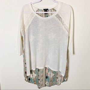 Rue 21 Large Lace Tribal High Low Sweater